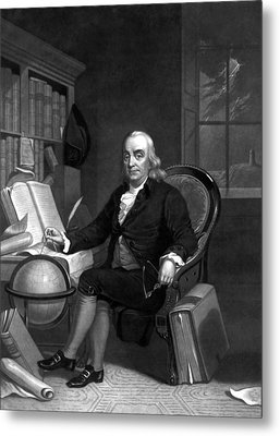 Benjamin Franklin -- The Scientist Metal Print by War Is Hell Store