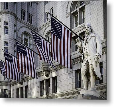 Benjamin Franklin At Old Post Office Metal Print by Eduard Moldoveanu