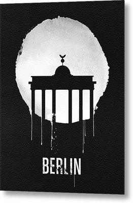 Berlin Landmark Black Metal Print by Naxart Studio