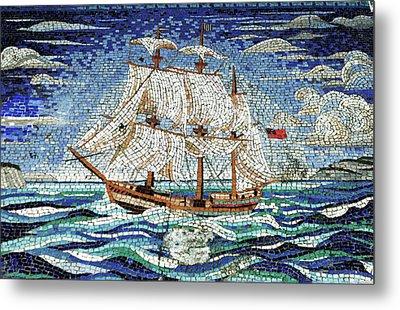 Bermuda Schooner Mosaic Metal Print by Sandy Taylor