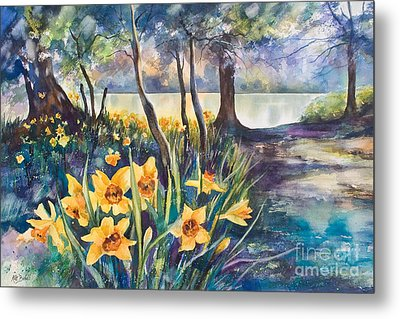 Beside The Lake Beneath The Trees. Metal Print by Kate Bedell