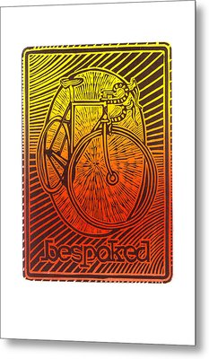 Bespoked Bicycle Linocut Metal Print by Mark Howard Jones