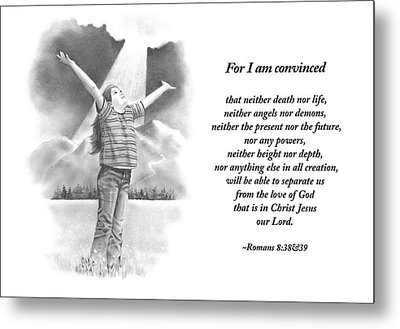 Bible Verse With Pencil Drawing Metal Print by Joyce Geleynse