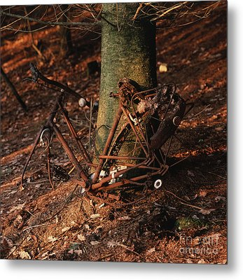 Bicycle Abandoned In A Forest Metal Print by Bernard Jaubert