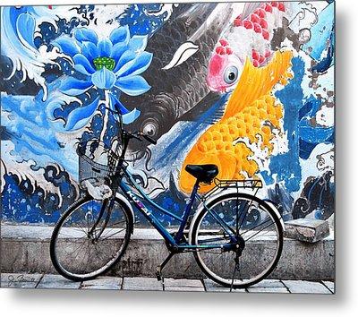 Bicycle Against Mural Metal Print by Joe Bonita