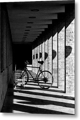 Bicycle And Shadows Metal Print by George Morgan