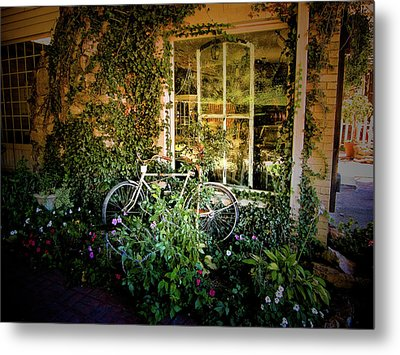 Bicycle In Bloom Metal Print by Rosemary McGahey
