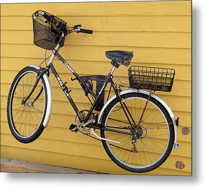 Bicycle On A Float House Victoria British Columbia Metal Print by Barbara Snyder