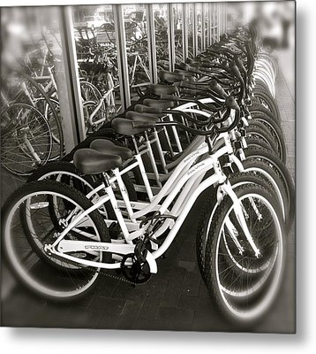 Bicycles In Belmont Shore Metal Print by Gwyn Newcombe