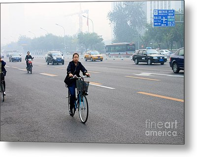 Bicyclist In Beijing Metal Print by Thomas Marchessault