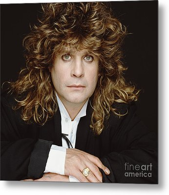 Big-haired Ozzy Metal Print by Terry O'Neill