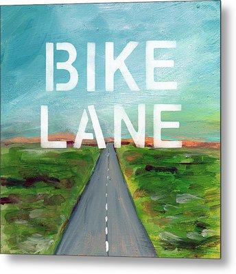 Bike Lane- Art By Linda Woods Metal Print by Linda Woods