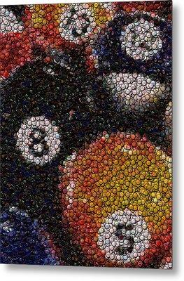 Billiard Ball Bottle Cap Mosaic Metal Print by Paul Van Scott