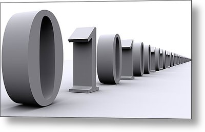 Binary Digits In A Row Metal Print by Panoramic Images