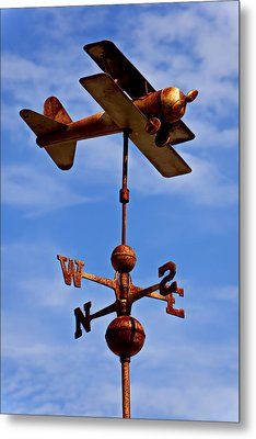 Biplane Weather Vane Metal Print by Garry Gay