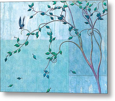 Bird In A Tree-2 Metal Print by Nina Bradica