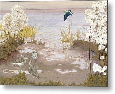 Bird On The Mud Flats Of The Elbe Metal Print by Friedrich Lissmann