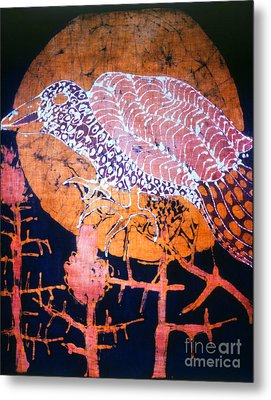 Bird On Thistle At Sundown Metal Print by Carol Law Conklin