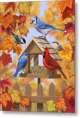 Bird Painting - Autumn Aquaintances Metal Print by Crista Forest