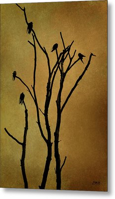 Birds In Tree Metal Print by Dave Gordon