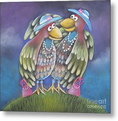 Birds Of A Feather Stick Together Metal Print by Caroline Peacock