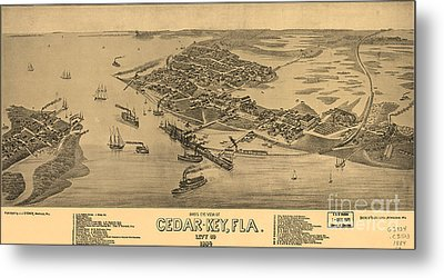Birdseye View Of Cedar Key, Florida Metal Print by Celestial Images