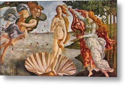 Birth Of Venus By Sandro Botticelli Revisited Metal Print by Leonardo Digenio