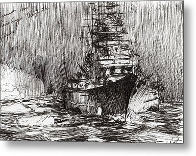 Bismarck Off Greenland Metal Print by Vincent Alexander Booth