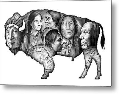 Bison Indian Montage Metal Print by Greg Joens