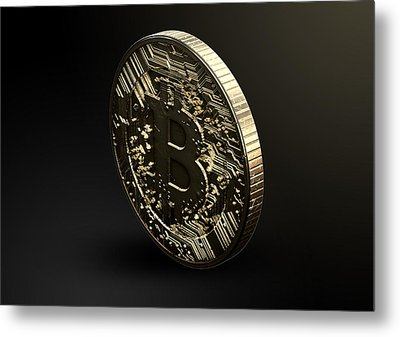 Bitcoin Physical Metal Print by Allan Swart