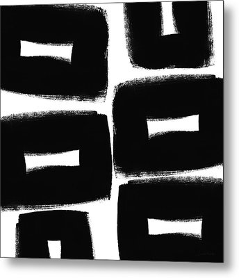 Black And White Abstract- Abstract Painting Metal Print by Linda Woods