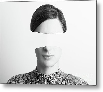 Black And White Abstract Woman Portrait Of Identity Theft Concept Metal Print by Radu Bercan