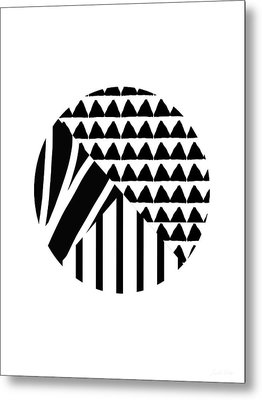 Black And White Patchwork Pattern Ball- Art By Linda Woods Metal Print by Linda Woods