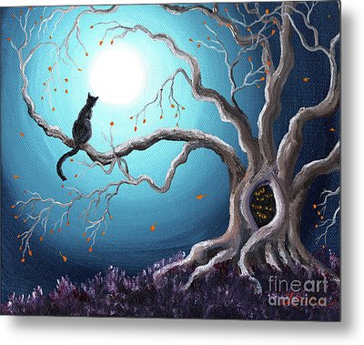 Black Cat In A Haunted Tree Metal Print by Laura Iverson