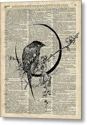 Black Raven Bird Metal Print by Jacob Kuch