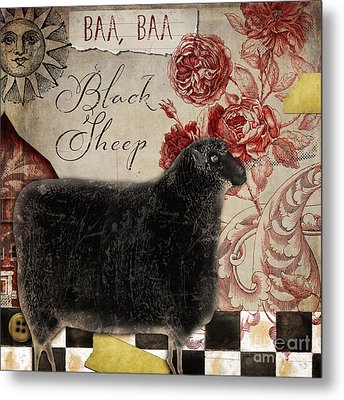 Black Sheep Nursery Rhyme Mother Goose Metal Print by Mindy Sommers