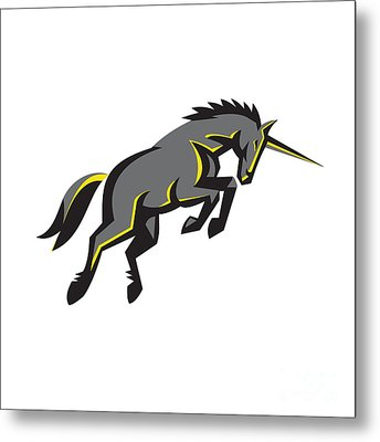 Black Unicorn Horse Charging Isolated Retro Metal Print by Aloysius Patrimonio