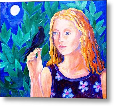 Blackbird Singing In The Dead Of Night  Metal Print by Trudi Doyle