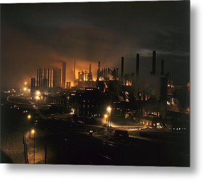 Blast Furnaces Of A Steel Mill Light Metal Print by J Baylor Roberts