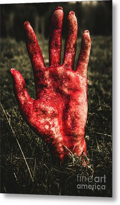 Blood Stained Hand Coming Out Of The Ground At Night Metal Print by Jorgo Photography - Wall Art Gallery