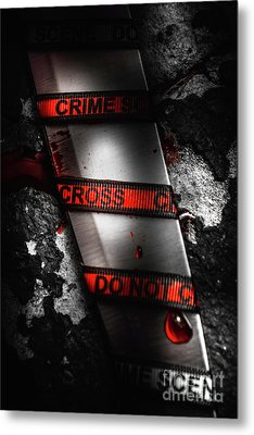 Bloody Knife Wrapped In Red Crime Scene Ribbon Metal Print by Jorgo Photography - Wall Art Gallery