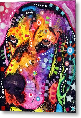 Blossom Basset Hound Metal Print by Dean Russo