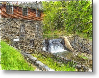 Blow Me Down Mill Cornish New Hampshire Pencil Metal Print by Edward Fielding