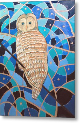 Blue Al Whimsical Owl Painting Metal Print by Scott Plaster
