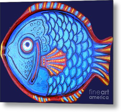 Blue And Red Fish Metal Print by Genevieve Esson