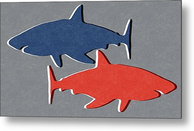 Blue And Red Sharks Metal Print by Linda Woods