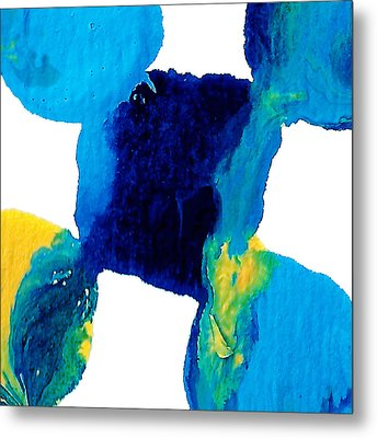 Blue And Yellow Interactions  Metal Print by Amy Vangsgard