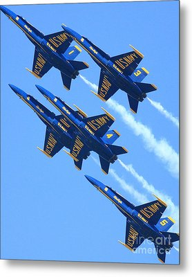 Blue Angels Leaving A White Trail Metal Print by Wingsdomain Art and Photography