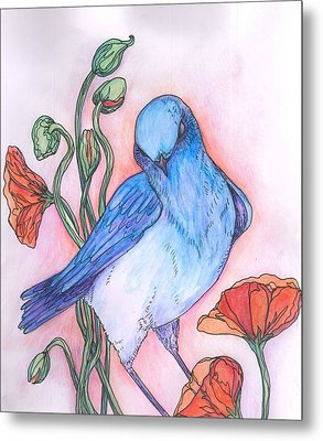Blue Bird Metal Print by Cherie Sexsmith