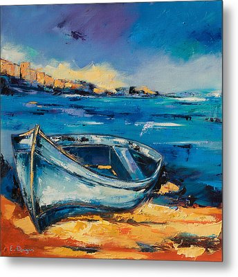 Blue Boat On The Mediterranean Beach Metal Print by Elise Palmigiani